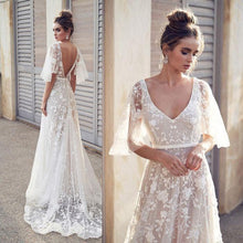 Load image into Gallery viewer, Fresh Sexy Bat Sleeve Lace V-neck Long Flower Dress Middle Sleeve Summer Dress