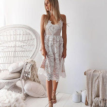 Load image into Gallery viewer, Fresh Halter Women Party Sling Backless Hollow Lace Summer Dress