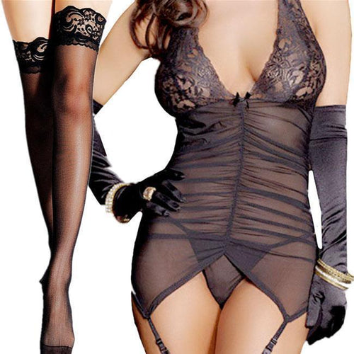 Sexy Women's V-neck Lace Mesh Backless wrinkles Braces Dress Lingerie For Big Sale!- xikeoo.com