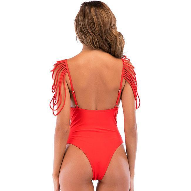 Sexy Shoulder Tassels Bikini One Piece Beach Women's Swimwear For Big Sale!- cutespree.com