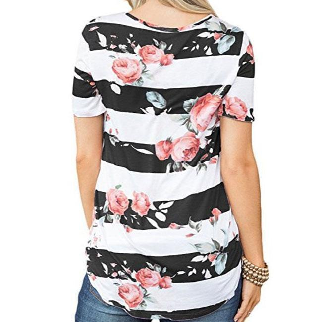 Fashion Women's Cross V Neck Flower Print Casual Summer T-Shirt For Big Sale!- cutespree.com