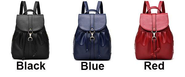 Leisure Lichee Pattern PU Girl's Drawstring Metal Lock Flap Backpack Travel Backpack For Big Sale!- cutespree.com