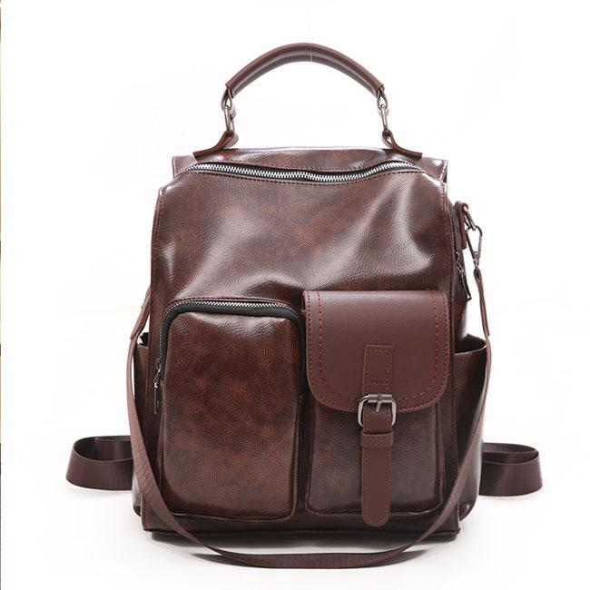 Vintage Soft Leather Irregular Pocket Multi-function Shoulder Bag School Bag Backpack