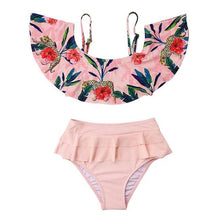 Load image into Gallery viewer, Sexy High Waist Bikinis Ruffle Sling Flower Leaves Summer Swimsuit