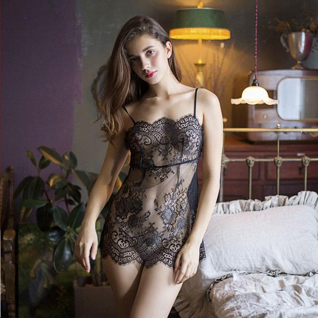 Sexy Transparent Hollow Nightdress Perspective Pajamas Pink Lace Sling Lingerie