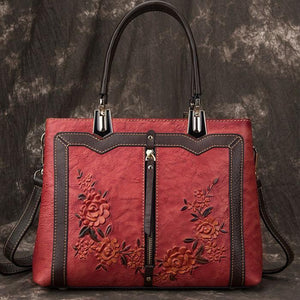 Retro 3D Flower Vertical Zipper Women Handbag Handmade Leather Shoulder Bag