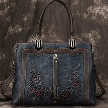 Load image into Gallery viewer, Retro 3D Flower Vertical Zipper Women Handbag Handmade Leather Shoulder Bag
