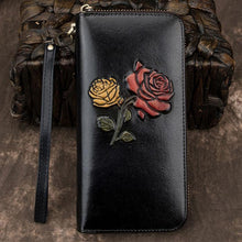 Load image into Gallery viewer, Retro  Embossed Flower Long Wallet Cowhide Red Yellow Phone Purse Rose Clutch Bag