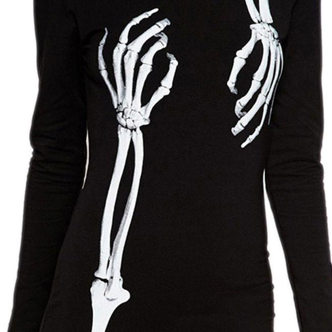 Women's X-ray Perspective Print Long Sleeve Dress Bodycon Tunic Dress For Big Sale!- cutespree.com
