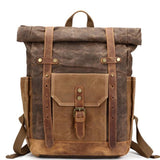 Unique Large Leather Thick Canvas Backpack Outdoor Camping Travel Backpack For Big Sale!- cutespree.com