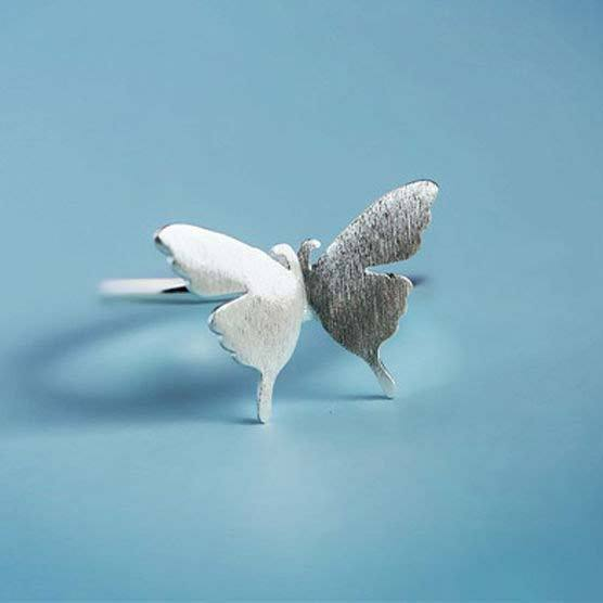 Cute Brushed Simple Girl's Frosted Vivid Butterfly Silver Animal Open Ring For Big Sale!- cutespree.com