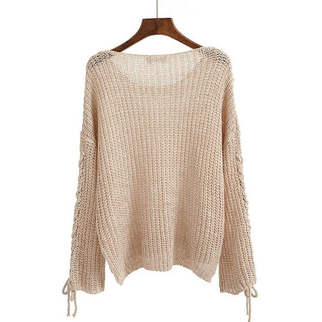 Long-sleeved Hollowed-out Longer In The Rear Sweater For Big Sale!- cutespree.com