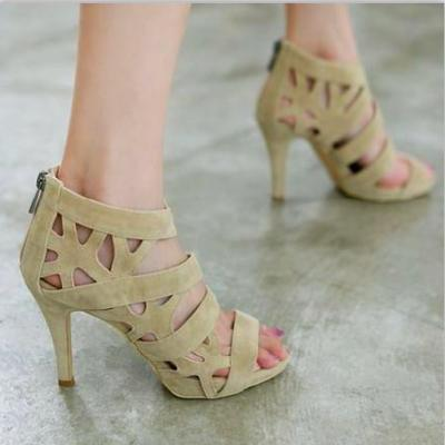 High-heeled Sandals Fish Head Hollow Waterproof Strap Shoes - cutespree