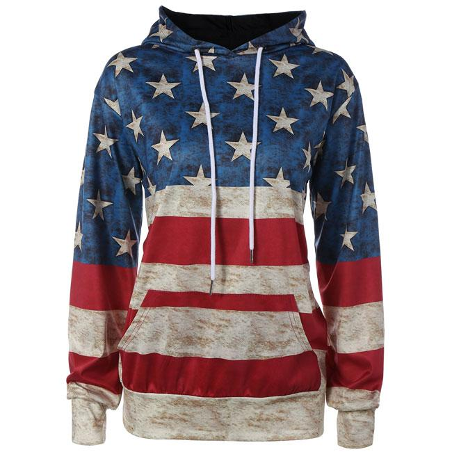 Vintage USA Flag Stars Stripe Hooded Jacket Ladies Casual Pullover Sweater For Big Sale!- cutespree.com