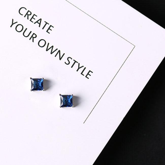 Fashion Silver Lady's Asymmetric Square Small Flowers Blue Zircon Allergy Silver Earrings Studs For Big Sale!- cutespree.com