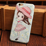 Lovely Aesthetic Girls Series Relief Silicone Soft Iphone Cases For 6/6Plus - cutespree
