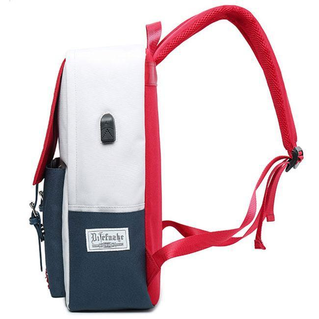 Fresh Red Blue Contrast Color High School Student Bag Large Capacity College Backpack For Big Sale!- cutespree.com