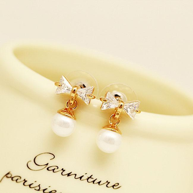 Fashion Bow Knot Pearl Crystal Drop Earrings Studs For Big Sale!- cutespree.com