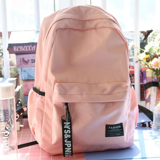 Fresh Waterproof Pure Color Letters Belts School Bag Young Simple Travel Backpack For Big Sale!- cutespree.com