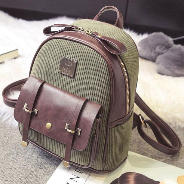 Retro Splicing PU Color Blocking School Bag Girl's Corduroy Student Backpack For Big Sale!- cutespree.com