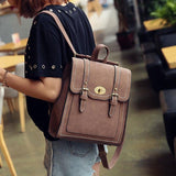 Unique Frosted PU Square Flap Shoulder Bag Backpack Belt Double Metal Locks School Backpacks For Big Sale!- cutespree.com