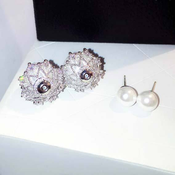Elegant Frosted Pearl Ball Diamond-bordered Silver Women Earring Studs For Big Sale!- cutespree.com