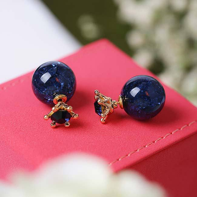 Fashion Deep Blue Ice Crystal Ball Crown Dual-purpose Round Women Earring Studs For Big Sale!- cutespree.com