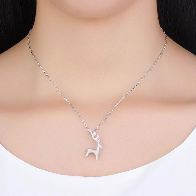 Fresh Silver Deer Animal Pendant Necklace For Big Sale!- cutespree.com