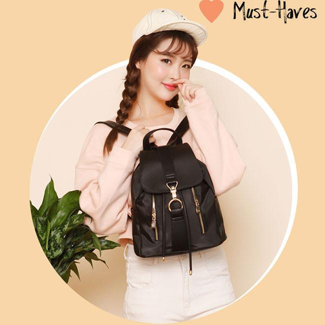 Summer Waterproof Leisure Oxford Splicing PU Draw String Flap Black School Backpack For Big Sale!- cutespree.com