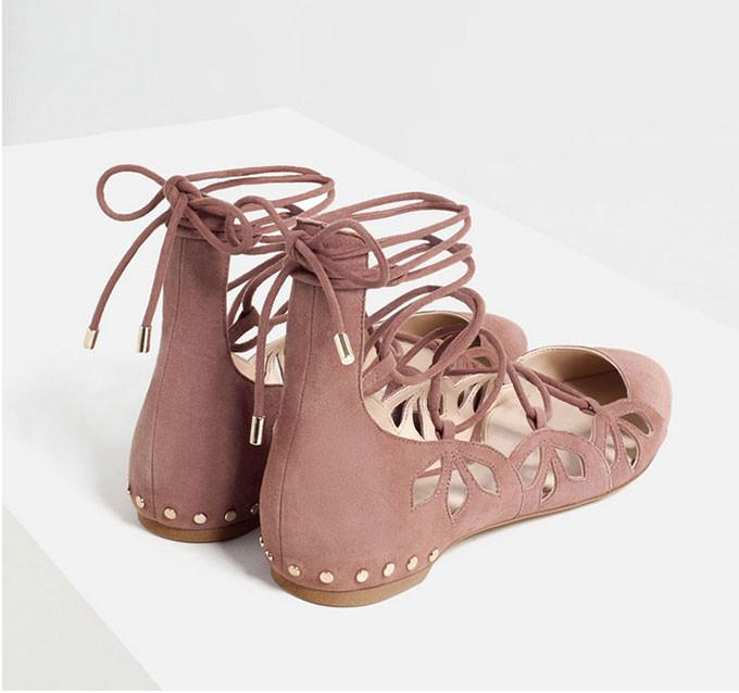 New Shallow Mouth Pointed Flat Sandals Bandage Nude Color Shoes - cutespree