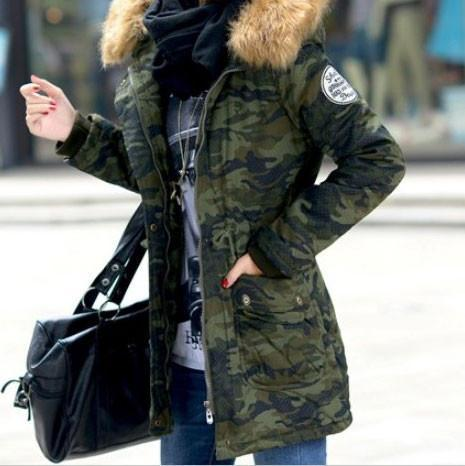 Women Camo Slim Long Thick Cotton Windbreaker Jacket Coat For Big Sale!- cutespree.com