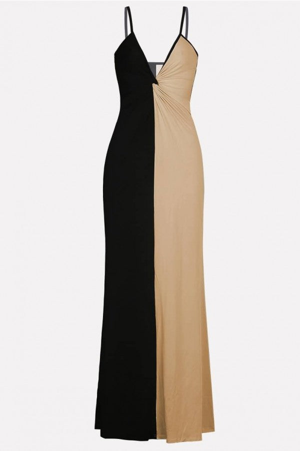 Apricot-black Two Tone Twisted Spaghetti Straps Sexy Maxi Dress