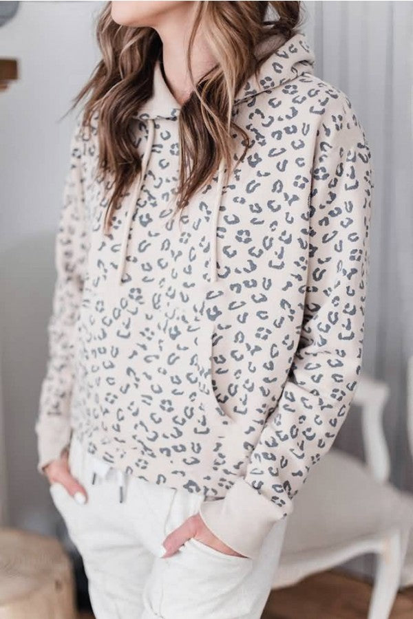 Apricot Leopard Pocket Long Sleeve Casual Hoodie