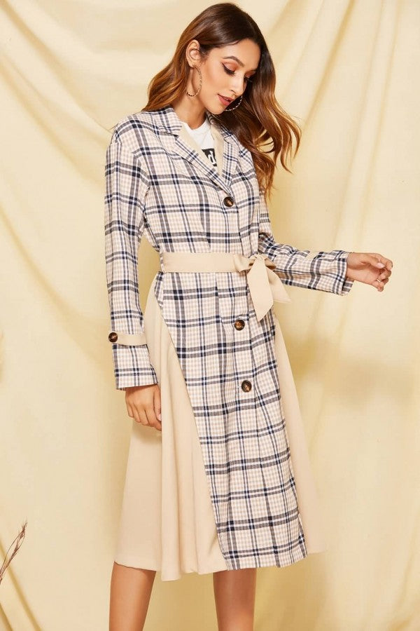 Apricot Plaid Button Up Tied Casual Trench Coat