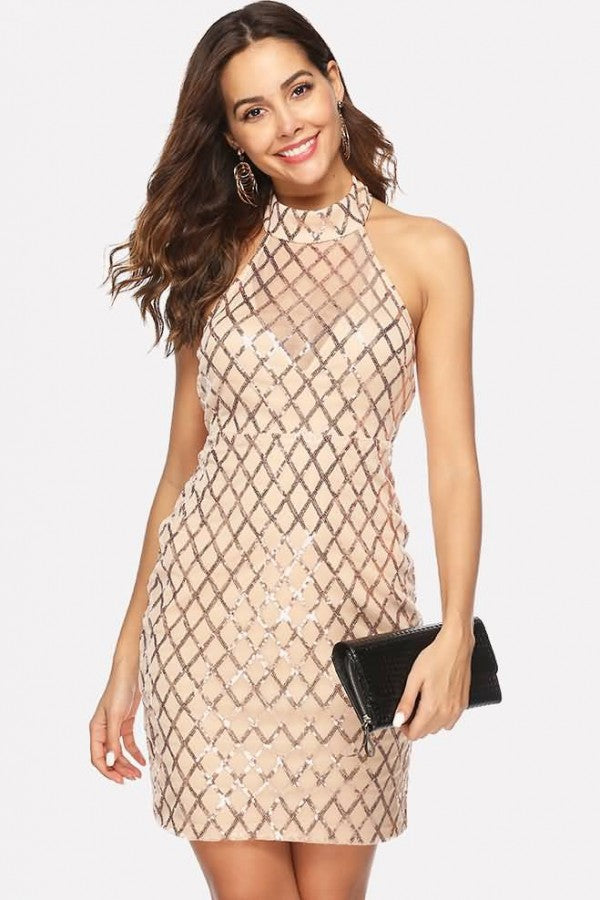 Apricot Sequin Mesh Splicing Halter Sexy Bodycon Dress