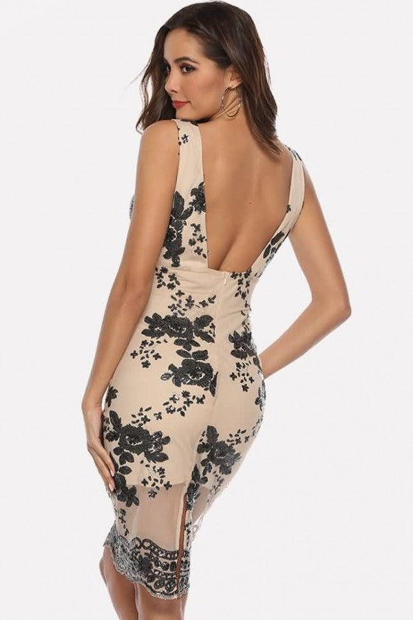 Apricot Sequin Plunging Mesh Splicing Sexy Bodycon Dress