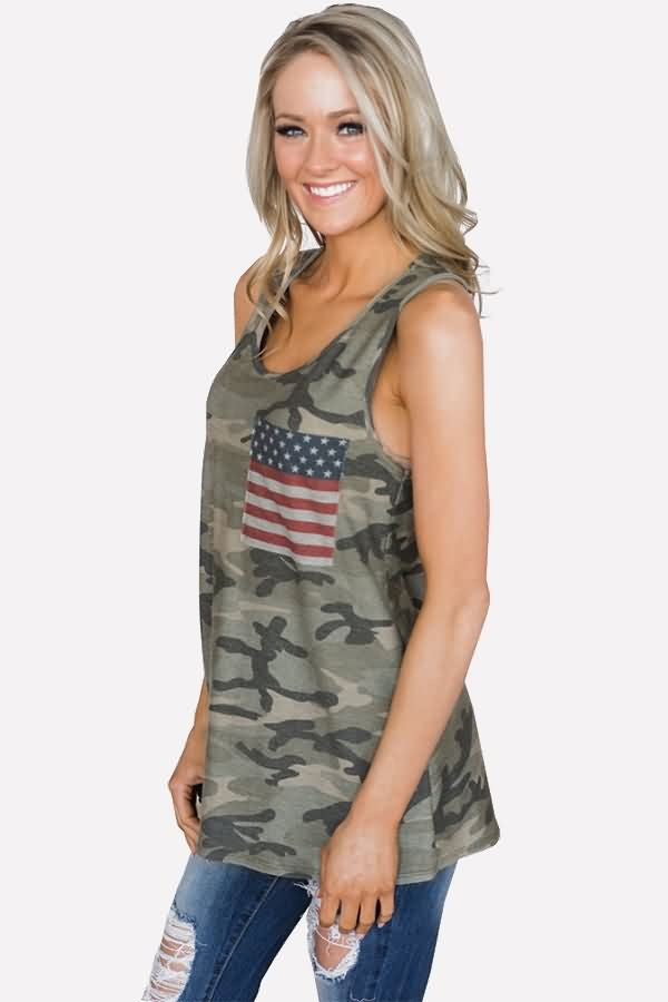 Army-green Camo American Flag Applique U Neck Racer Back Casual Tank Tops