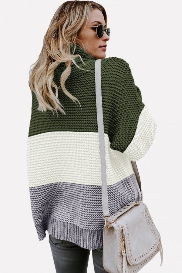 Army-green Color Block Turtle Neck Long Sleeve Casual Sweater