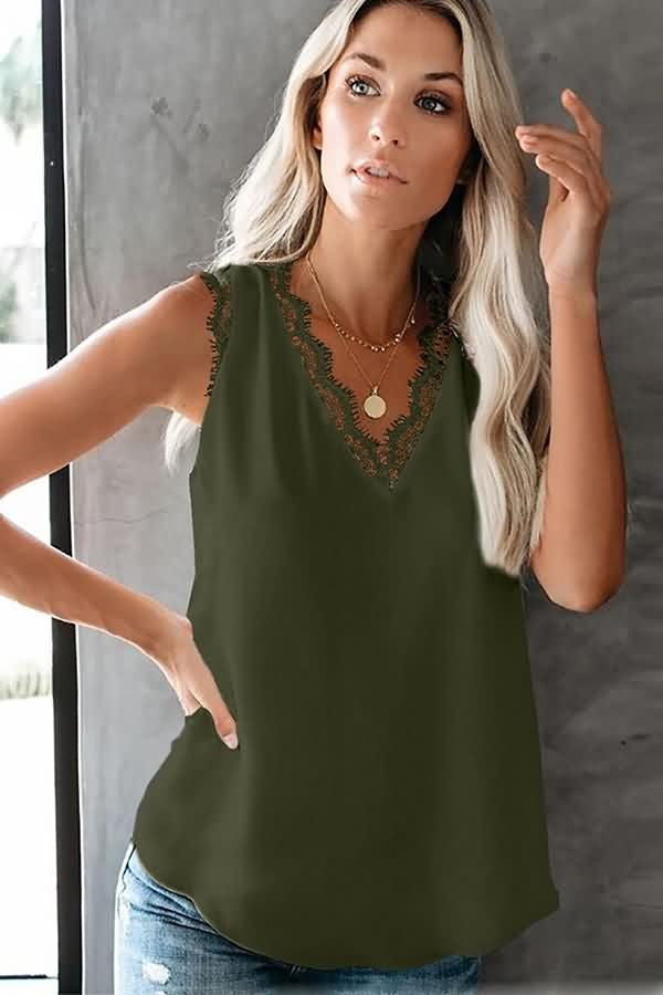 Army-green Lace Splicing V Neck Casual Tank Tops