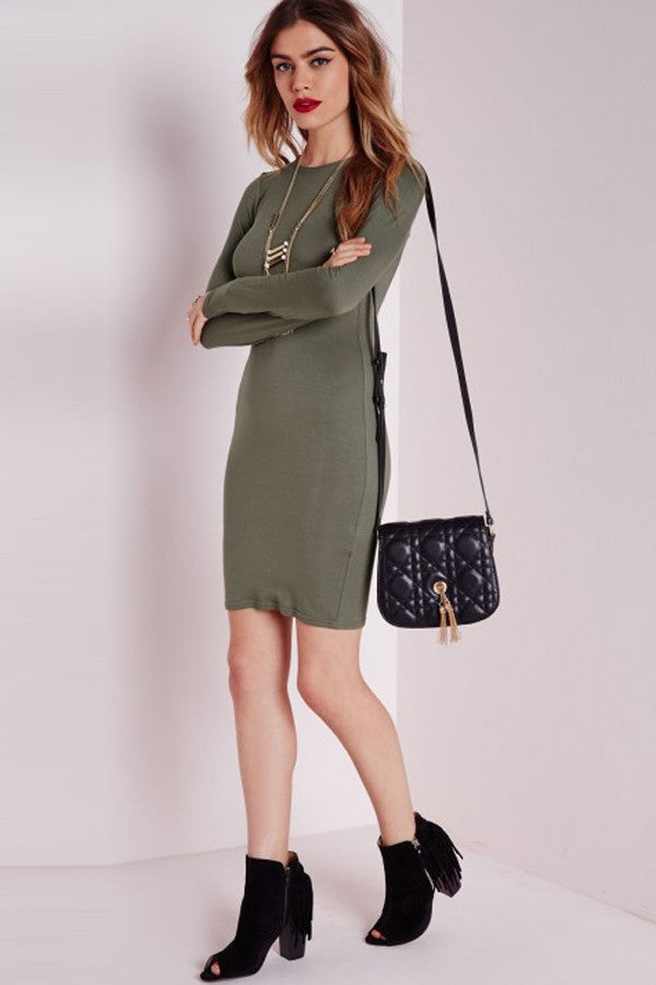 Army Green Long Sleeve Bodycon Casual Dress