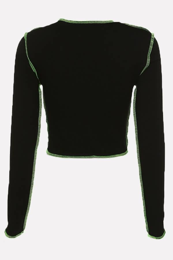 Black Contrast Long Sleeve Casual Cropped T Shirt