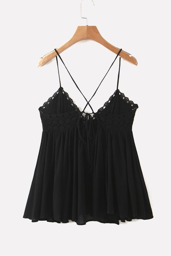 Black Crochet Spaghetti Straps Lace Up Back Peplum Sexy Camisole