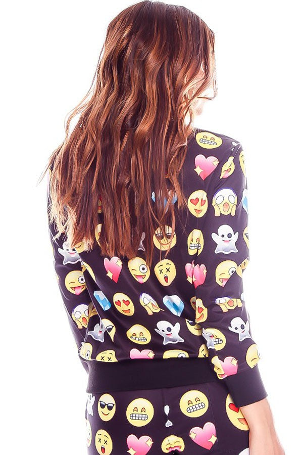 Black Emoji Print Long Sleeve Casual Sweatshirt