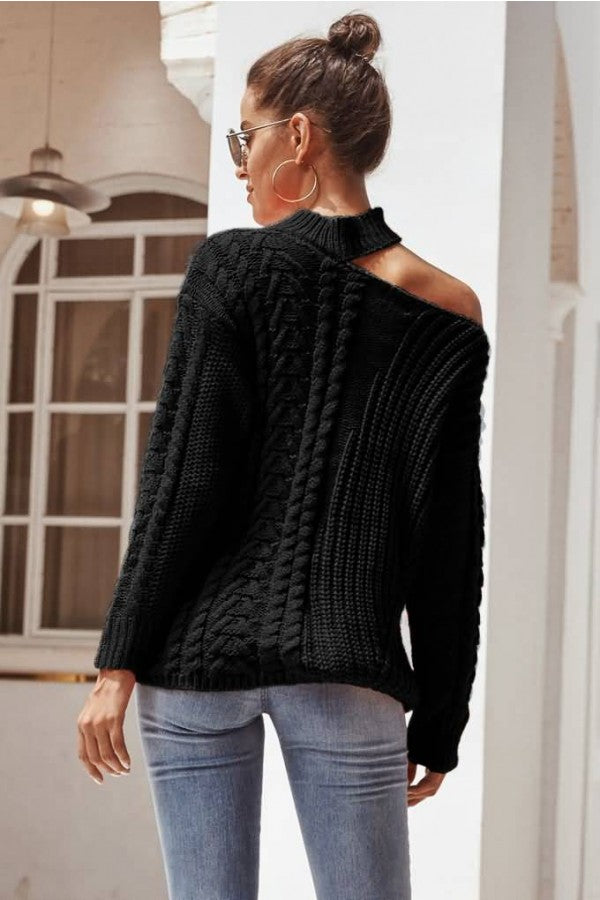 Black Knit Choker Long Sleeve Casual Sweater