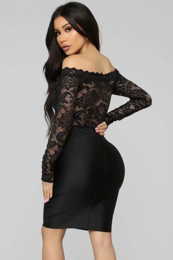 Black Lace Off Shoulder Long Sleeve Sexy Bodysuit