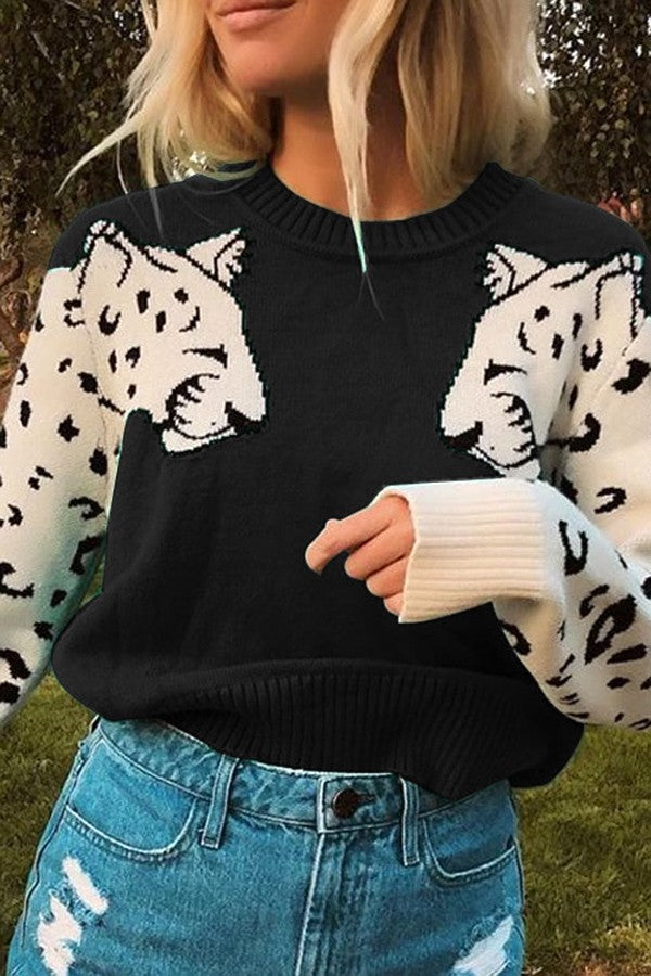 Black Lion Crew Neck Long Sleeve Casual Pullover Sweater