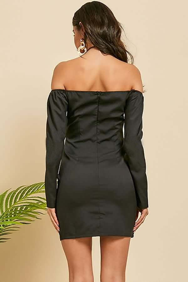 Black Off Shoulder Hook Hollow Out Sexy Mini Bodycon Dress
