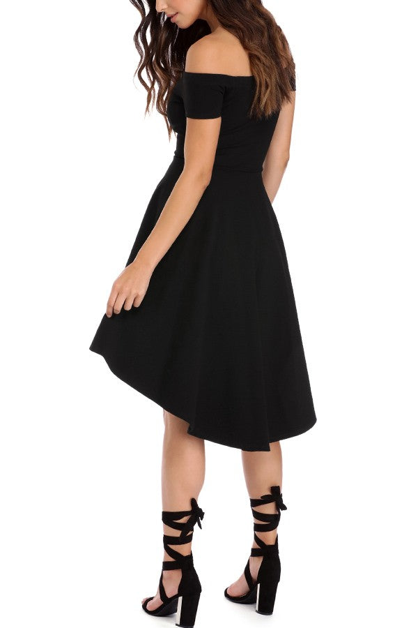 Black Off Shoulder Sexy High Low Party Dress