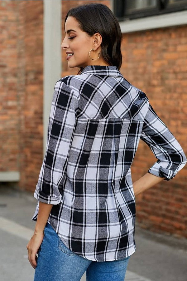 Black Plaid Button Up Long Sleeve Casual Shirt