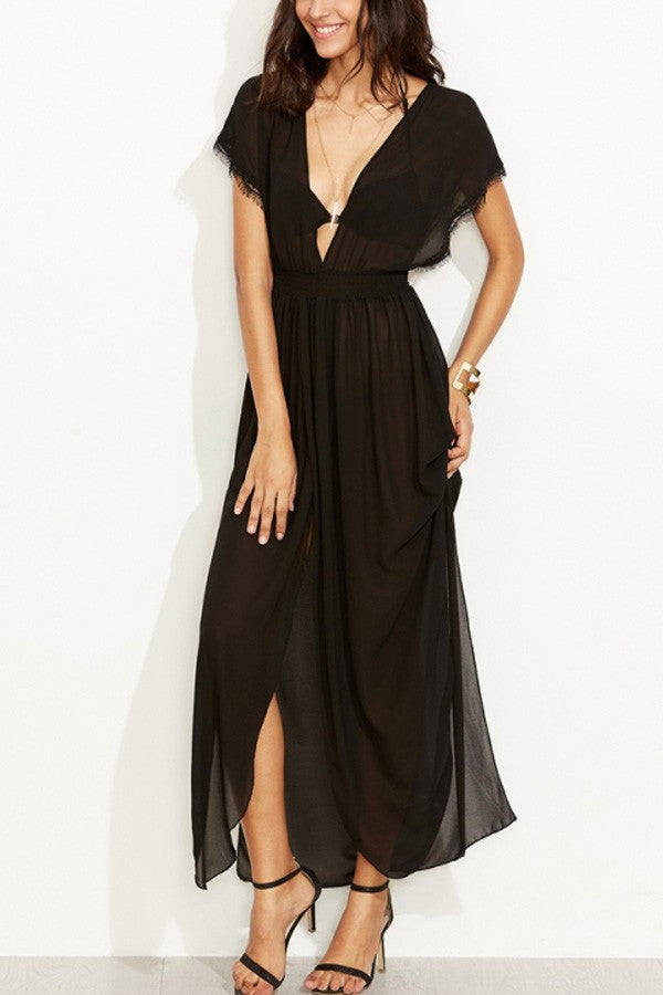 Black Plunging V Neck Slit Sexy Maxi Dress